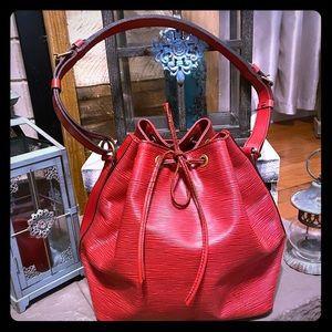 Vintage Louis Vuitton Red Epi Leather Petite Noe